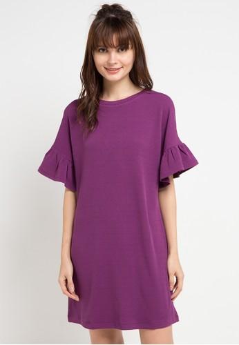 KORZ purple Textured Knit Ruffles Sleeve Dress 09ADAAA10C0BCAGS_1