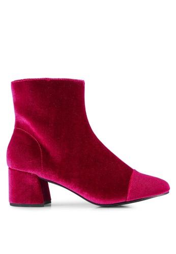 Miss Selfridge pink Delilah Pink Velvet Ankle Boots MI665SH0RXAJMY_1