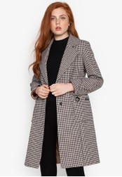 Well Suited black Houndstooth Pattern Trench Coat 766D3AA4F373D3GS_1