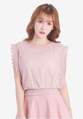 Yoco pink Sleeveless Smock Top 11B29AA71BA6FEGS_1