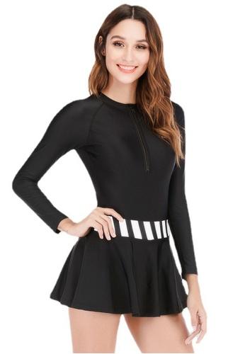 LYCKA black ZWS8034-European Style Lady Swimsuit-Black 6D055US0DE9ECEGS_1