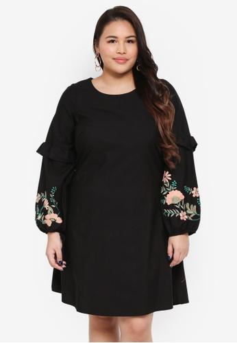 Junarose black Plus Size Cheryl Long Sleeve Mini Dress 2EDD7AA0A80936GS_1