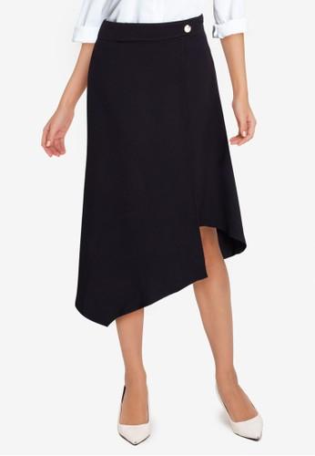 ZALORA WORK black Asymmetrical Hem Skirt B884FAA9F8FCCFGS_1