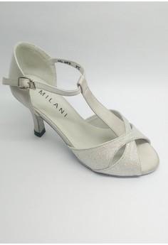 OD 493 Ninfa ballroom Silver Satin T-Strap with Glitters