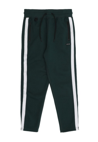 izzue green Contrast striped taped joggers 4A7DBAA4AF0369GS_1