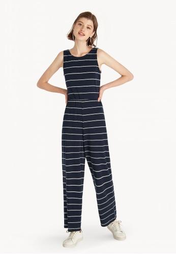 e126b70acff7 Buy Pomelo Striped Back Tie Jumpsuit - Navy Online on ZALORA Singapore