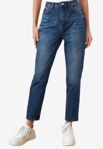 Trendyol blue Denim Wash High Waist Mom Jeans 29EA2AA57BE2BDGS_1