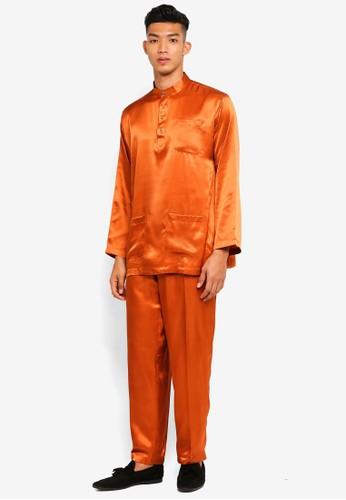 Gene Martino orange Traditional Baju Melayu 88DF9AAA7EF1AFGS_1