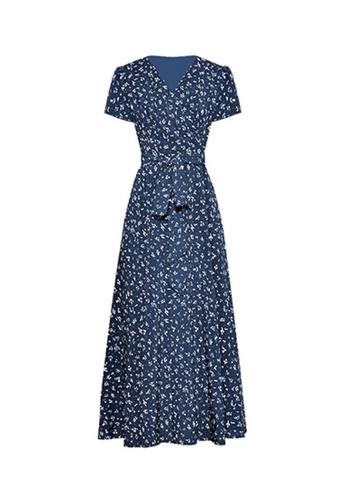 Twenty Eight Shoes blue VANSA Floral Print Chiffon Dress  VCW-D05 4AD9EAA50CFDF6GS_1