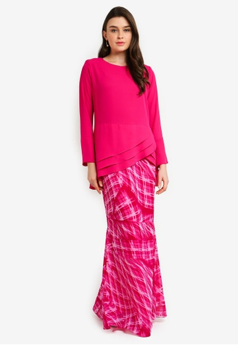 Midi Kurung Chiffon Peplum Kebaya Pleated w Layered Ruffle from Zuco Fashion in Pink