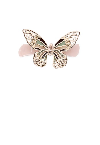 Glamorousky pink and gold Fashion and Elegant Butterfly Hair Slide with Champagne Cubic Zirconia 56729ACEA9E76DGS_1