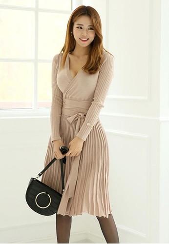 包裹式百褶繫帶連衣裙, 服飾, 及膝洋esprit香港門市裝