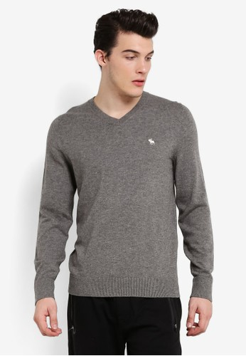 Abercrombie & Fitch grey V-Neck Knitwear AB423AA0RCRNMY_1