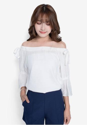 YOCO white Ribbon Off-Shoulder Top YO696AA0S1BWMY_1