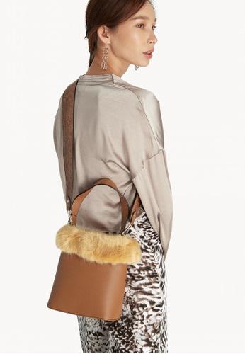 0355b613d04d Buy Pomelo Faux Fur Bucket Bag - Brown Online on ZALORA Singapore
