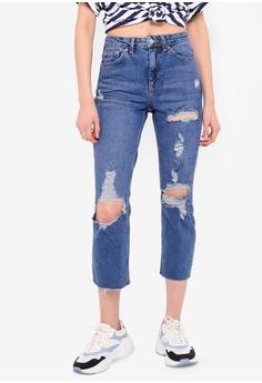 001245e1484 TOPSHOP blue Mid Denim Destroy Rip Straight Jeans 48702AA49D6576GS_1
