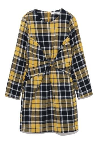 b+ab yellow Gathered plaid dress AA725AA5B12BF3GS_1