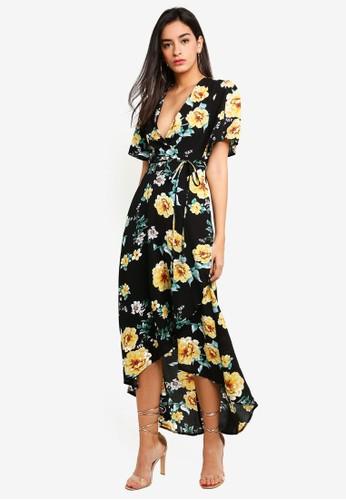 MISSGUIDED black Black Floral High Low Dress EBA9DAAEA1E680GS_1