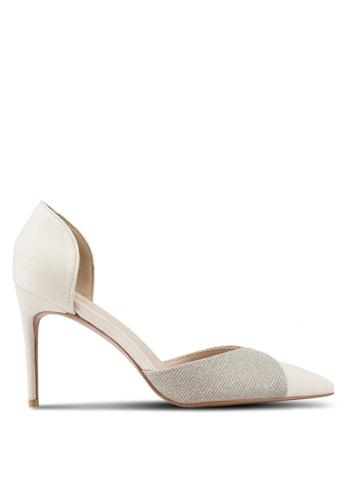 Velvet 白色 麂皮拼接閃亮高跟鞋 96419SHF112413GS_1