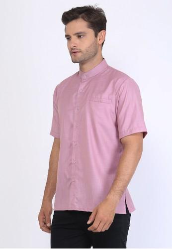 Allev pink AFIF Shirt - Peach List Biru 627B7AAA951772GS_1