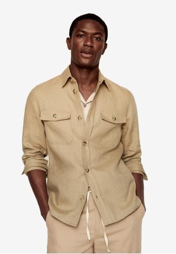 MANGO Man beige 100% Linen Regular-Fit Overshirt 8FBD5AAA80DB1BGS_1