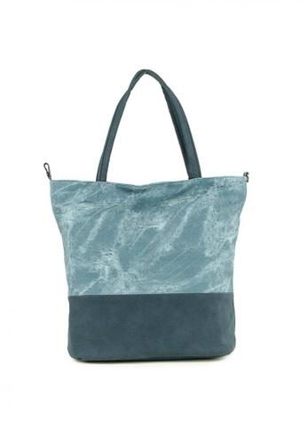 House of Bai blue Korean Two Toned Leather Tote Bag   HO716AC0JQ1GPH_1