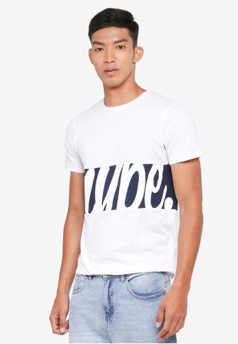 Just Hype white and navy Script Panel T-Shirt 5DE0CAAEB37209GS_1