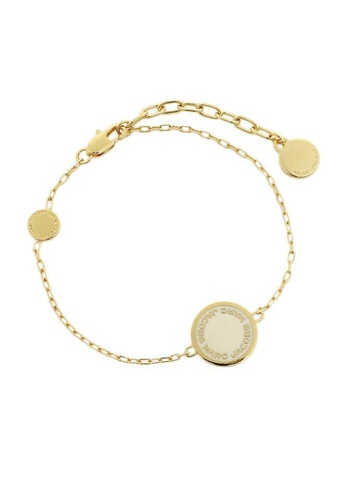 Marc Jacobs white and gold Marc Jacobs Disc Bracelet M0008540 Gold Cream 29947AC76B2161GS_1