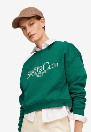 Mango green Message Cotton Sweatshirt DEEB4AADA8797AGS_1