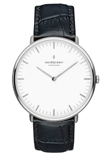 Nordgreen black and silver Nordgreen Native Silver 40 mm - Black Croc Leather Watch 585ECACAAC16EBGS_1