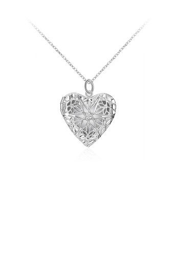 Glamorousky silver Fashion Romantic Hollow Heart Pendant with Necklace 34DC6AC040ACFBGS_1