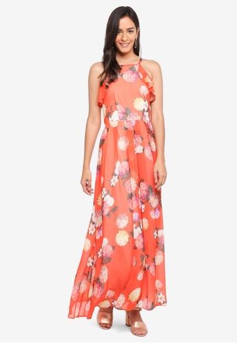 Dorothy Perkins orange Orange Floral Ruffle Maxi Dress FAADAAA2DF5D2FGS_1