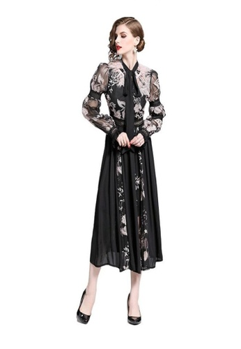 Crystal Korea Fashion black New Embroidered Feather Lantern Sleeves Slim Temperament Dress 6852FAA81835E5GS_1