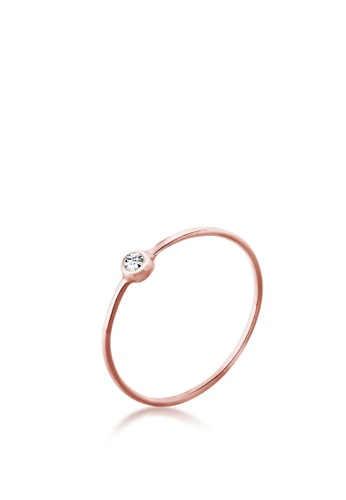 ELLI GERMANY gold Ring Women Solitaire Stacking with Crystal Rose Gold Plated C7977AC9474B02GS_1
