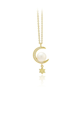 Glamorousky white 925 Sterling Silver Plated Gold Fashion Simple Moon Star Freshwater Pearl Pendant with Cubic Zirconia and Necklace 9CC90AC1DA9D5EGS_1