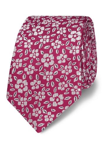 T.M. LEWIN pink T.M.Lewin Fuschia Floral Jacquard Silk Slim Tie 0E929AC45E16D3GS_1