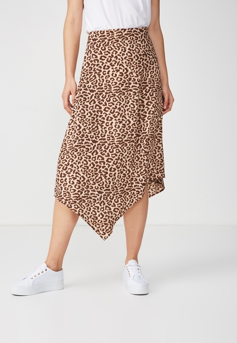 Brown Midi Skirt Cotton Woven On Assymetric Amy Hem xn0fqXB