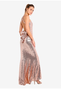 f0c678053e9 Goddiva beige Bow Detail Sequin Maxi Dress CB052AA7554CAEGS 1