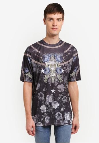 Topman black Navy Floral Mesh T-Shirt TO413AA0SHQCMY_1