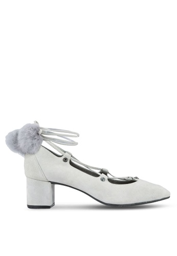 House of Avenues grey Pom Pom Heels HO685SH0RRC6MY_1