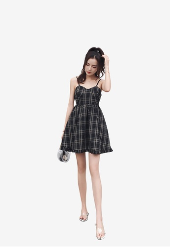 hk-ehunter black Camisole Grid Patterned A-Line Dress 2BE93AA2DAB115GS_1