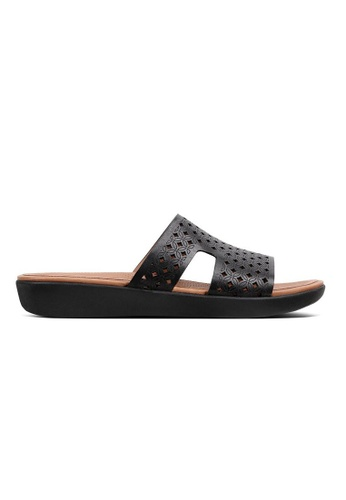FitFlop black Fitflop H-Bar Slide Sandals - Latticed Leather (Black) 8A513SHB366ECBGS_1