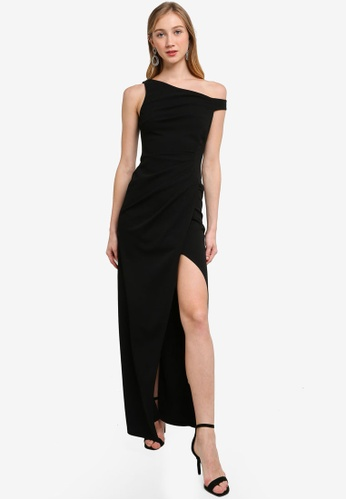 Goddiva black One Shoulder Pleated Maxi Dress BCAAFAAF0787D1GS_1