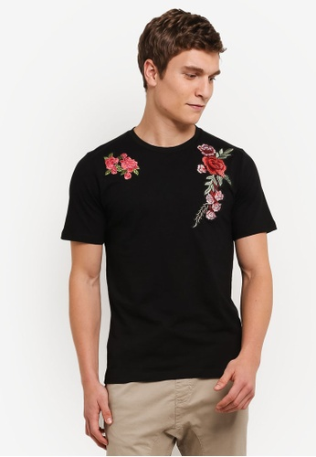 Flesh IMP 黑色 Flower Garden Patches T-Shirt FL064AA0S5TSMY_1