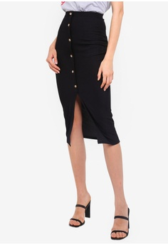 f61f827659c08 Boohoo black Ribbed Mock Horn Button Through Midaxi Skirt ECA4FAA0515A71GS_1