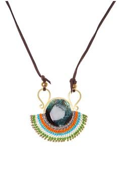 Brass Macrame & Agate Stone Pendant Necklace
