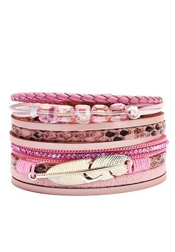 HAPPY FRIDAYS Rhinestone Feather Synthetic Leather Bracelet QNW2551 A1EA1AC3367186GS_1