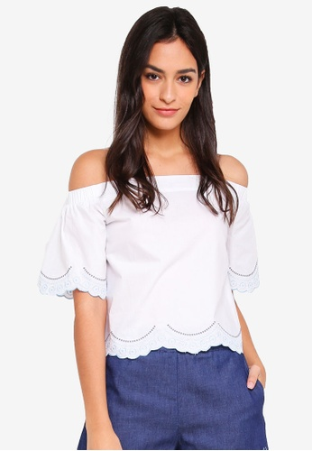 Something Borrowed white Embroidered Scallop Top 736C5AA6640873GS_1