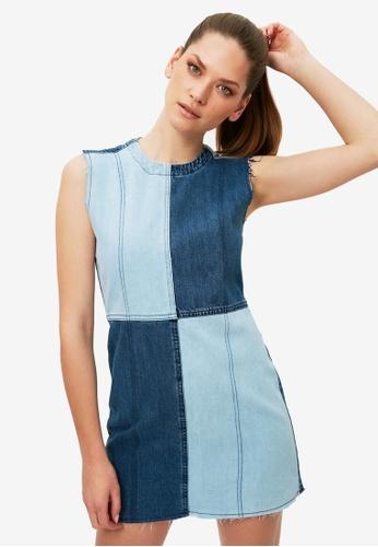 Trendyol blue Colorblock Denim Dress 50C01AAD1E2F8CGS_1