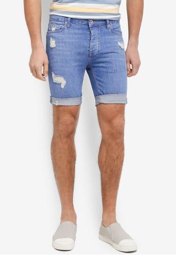 Topman blue Ripped Stretch Skinny Shorts 1F892AA6F86FC6GS_1
